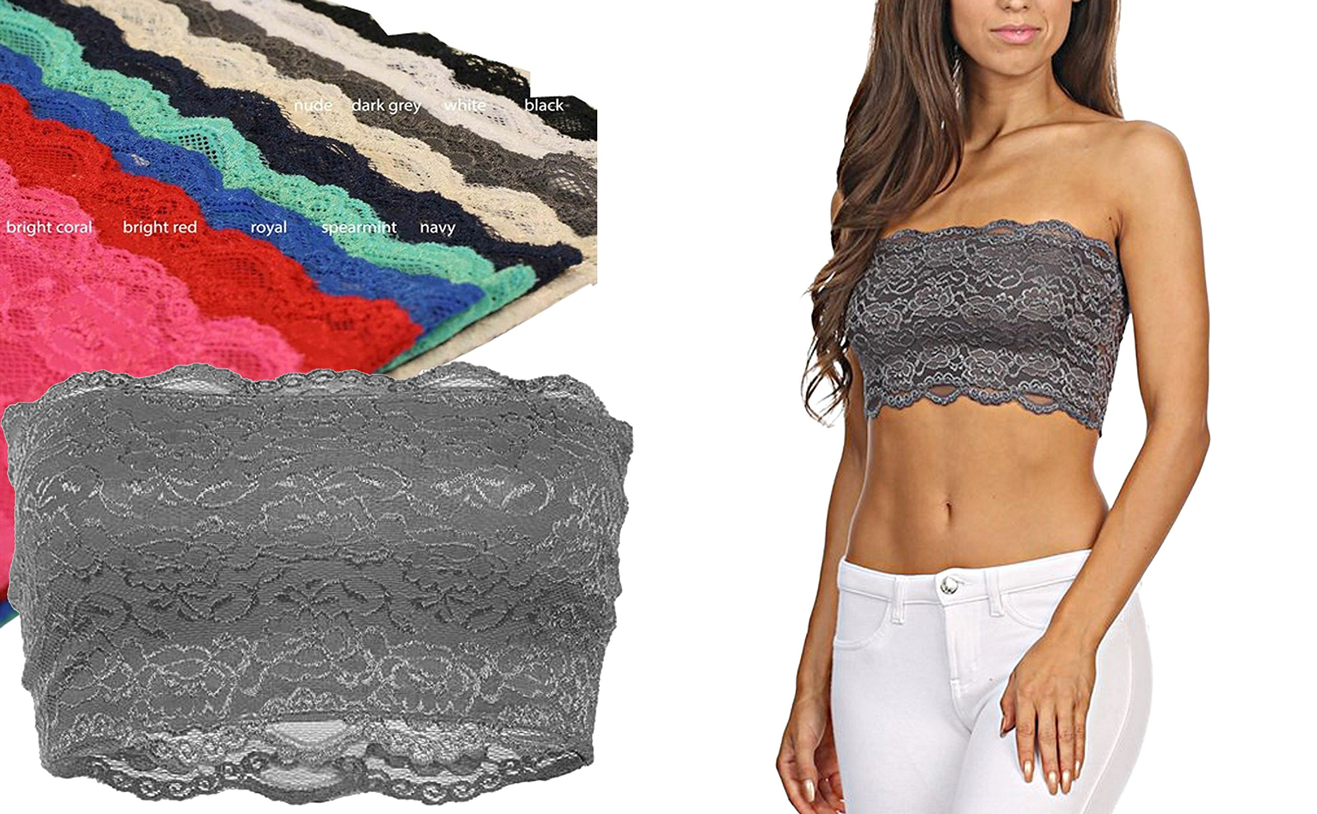 Womens Seamless Floral Non Padded Bralettes Top TL Strapless Bandeau Lace Bra