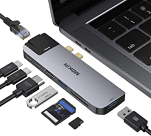MacBook Pro USB Adapter, USB C Multiport Adapter Hub Mac Dongle for MacBook Pro/Air with 4K HDMI Port, Gigabit ethernet, 2 USB, TF/SD Card Reader, USB-C 100W PD and Thunderbolt 3