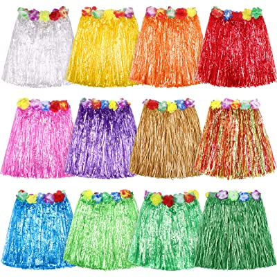 12 Pieces Muticolor Hawaiian Luau Hibiscus Green Silk Faux Flowers Hula Grass Skirt for Costume Party, Birthdays, Celebration: Toys & Games