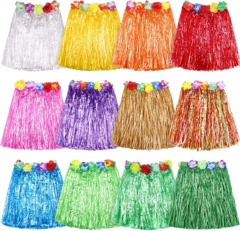 Falda hawaiana de seda sintética, 12 piezas, multicolor, para ...