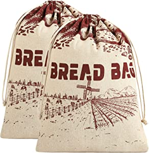 Ruisita 2 Pieces Linen Bread Bags 15.7 x 11.8 Inches Large Reusable Food Storage Bags Natural Linen Unbleached Bread Bags