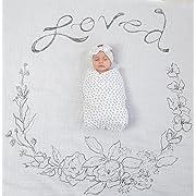 Amazing Baby Swaddle Studio Muslin Blankets, Set of 3, Loved Wreath, Soft Black