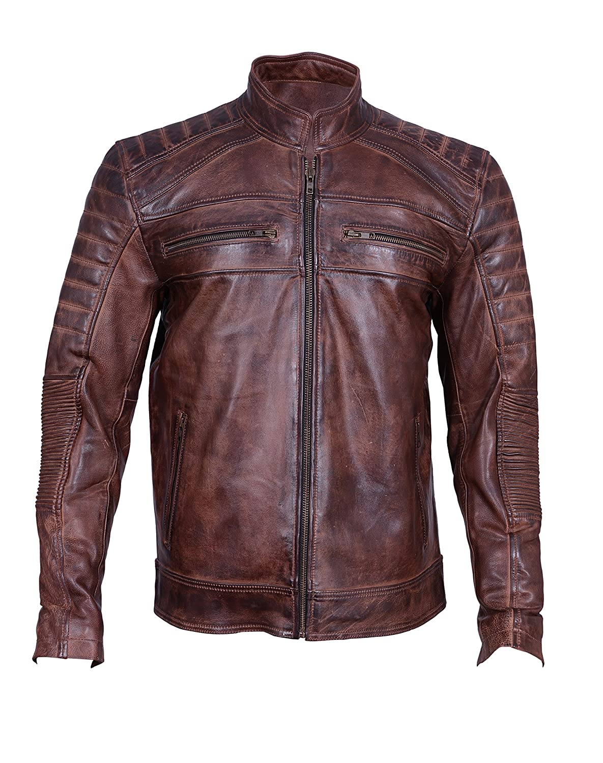 a18b87e0e0b61 Men s Motorcycle Biker Cafe Racer Vintage Motorcycle Distressed Brown  Leather Jacket (XX-Large) at Amazon Men s Clothing store