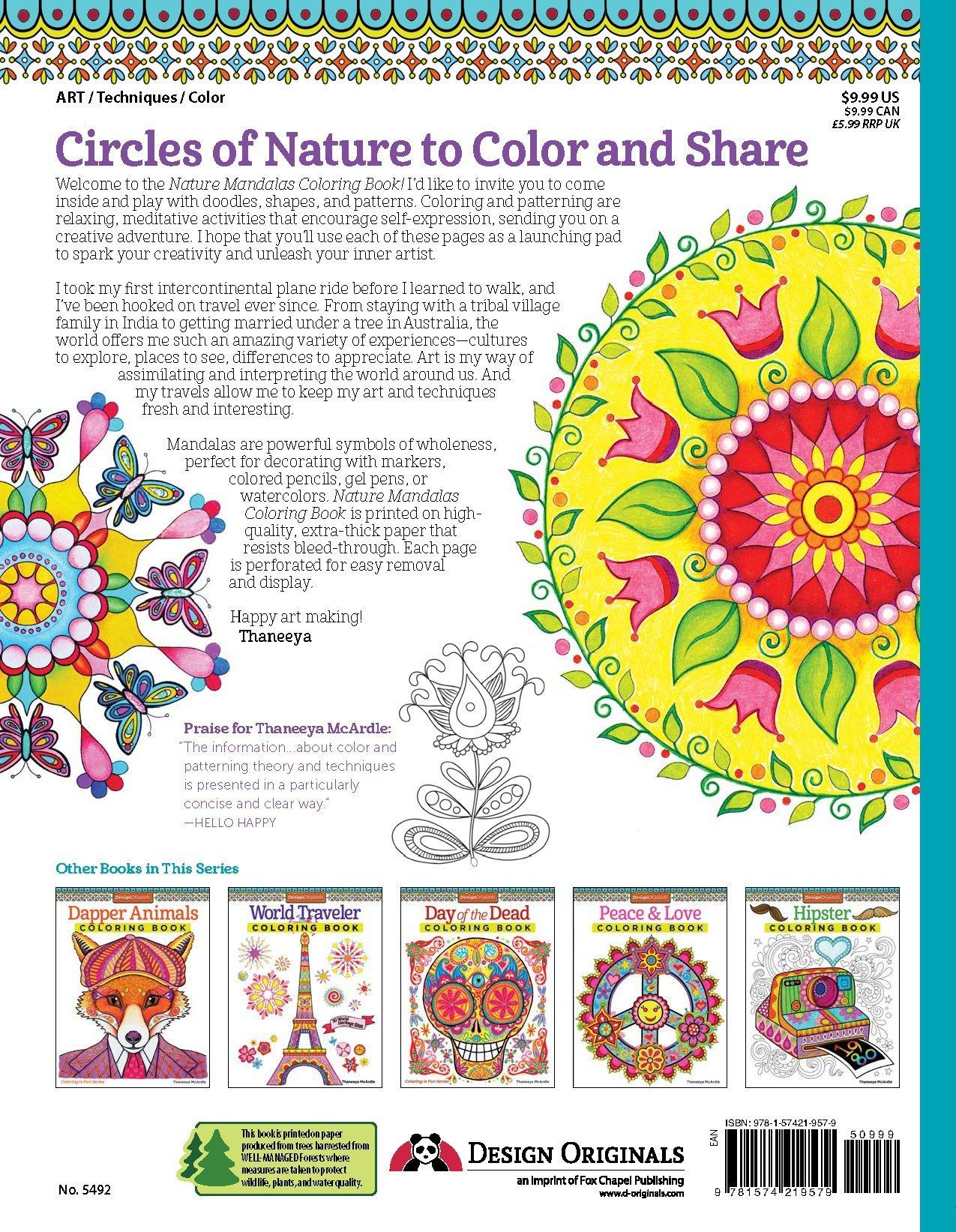 Nature Mandalas Coloring Book Design Originals Thaneeya Mcardle 9781574219579 Amazoncom Books