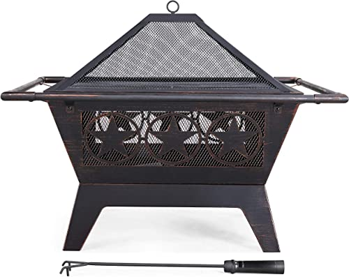 Topeakmart 32 Inch Outdoor Fire Pit Iron Square Wood Burning Fireplace Backyard Firepit