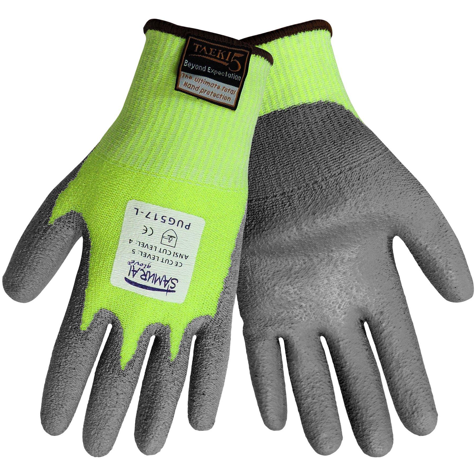 Global Glove PUG517 Samurai Taeki5 Polyurethane Glove, Cut Resistant, Large, Grey (Case of 72) by Global Glove (Image #1)