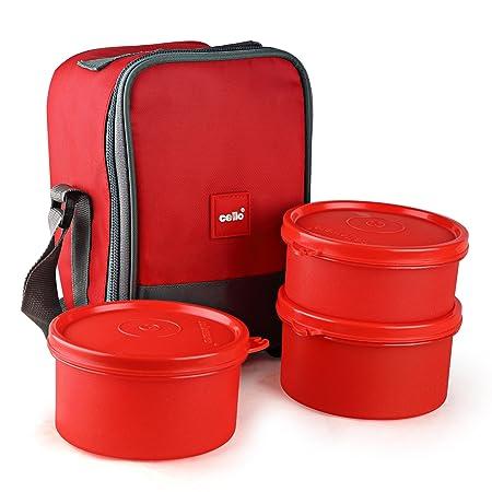 Cello Max Fresh Joy Plastic Lunch Box Set, 3 Pieces, Red