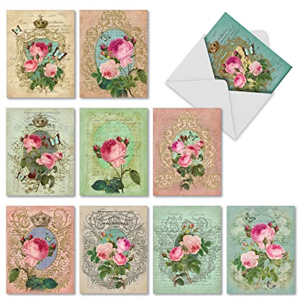 10 Note Cards w/ Envelopes - Assorted 'Romance and Roses' Blank Greeting  Cards - Lovely All Occasion Card for Mother, Wedding, Baby, Thank You -