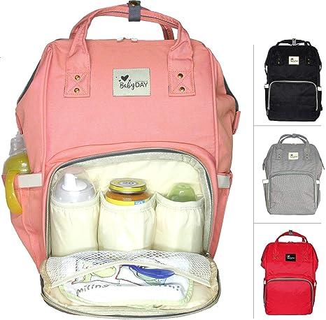 BABYDAY® - Mochila para pañales de bebé XL con 2 ganchos, 24 litros de