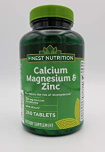 Finest Nutrition Calcium 333 mg Magnesium & Zinc Dietary Supplement Tablets 250 Each