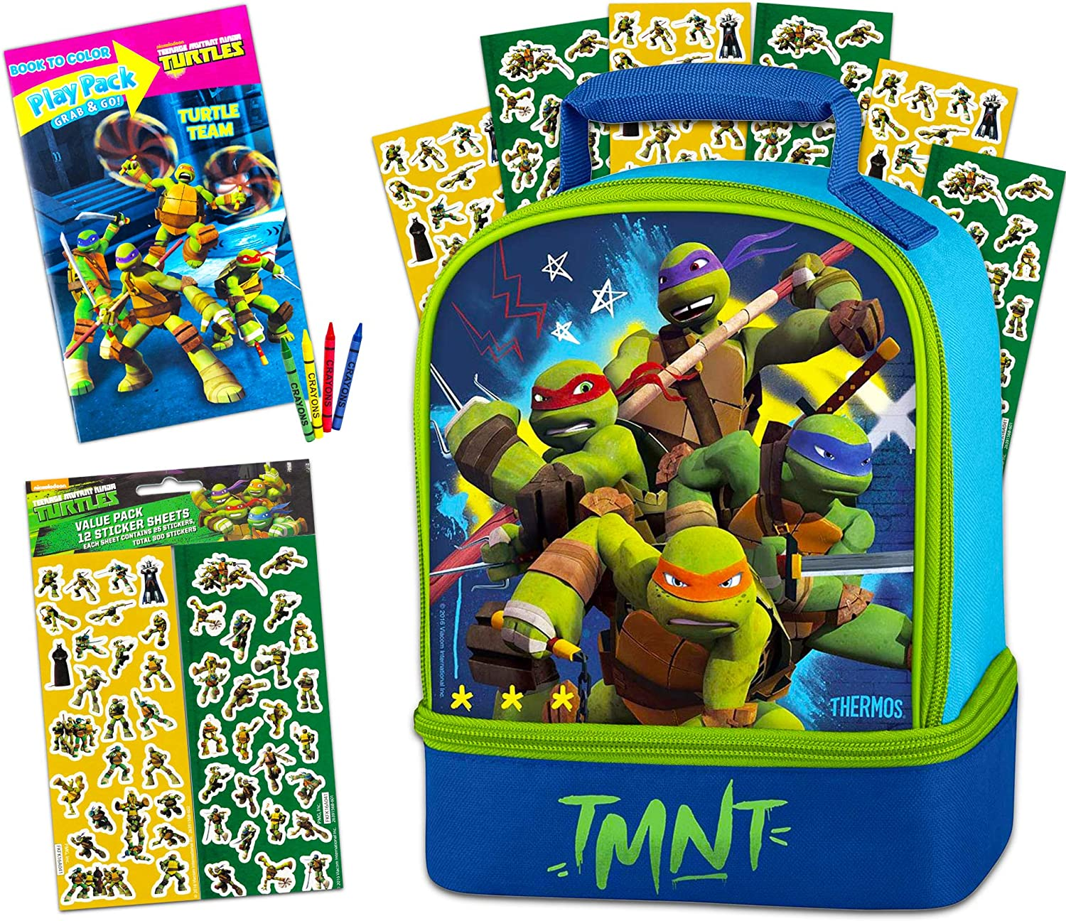 Thermos Teenage Mutant Ninja Turtles Lunch Box Set for Kids ~ 3 Part Bundle Includes Dual Compartment Insulated Lunch Box, 120 TMNT Stickers, and TMNT Coloring Book (Travel Kit for Kids)