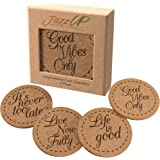 Beverage Coasters Inspirational Set (4 Pack) | X Large Premium Cork Coasters for Drinks | Hand-Crafted Packaging