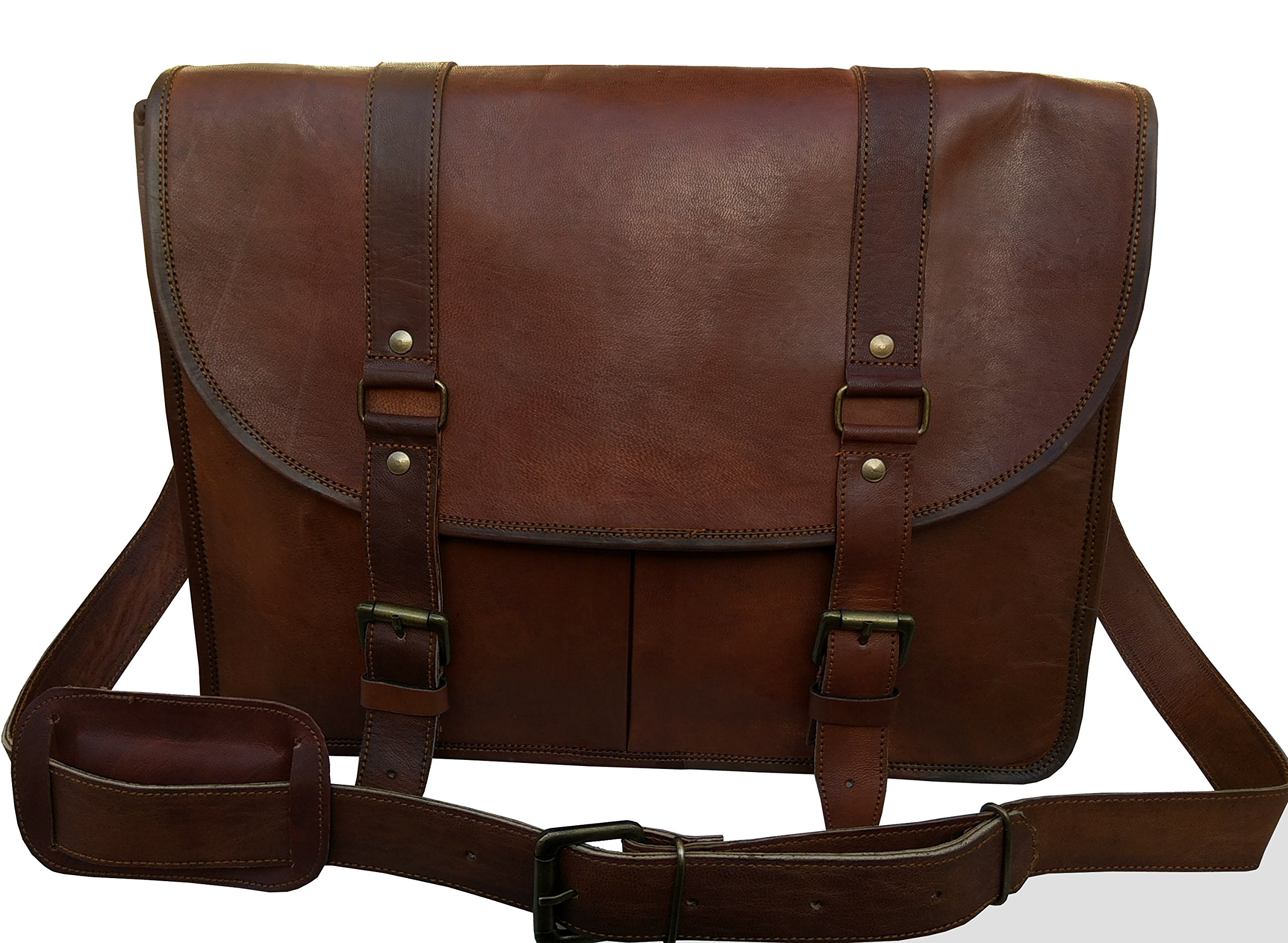 Leather Messenger Bag for Men & Women, Vintage Business Briefcase for Laptops & Books ~ Handmade, Rugged & Distressed ~ Genuine Retro Satchel ~ Great for Office, College, School & More, 15 Inch