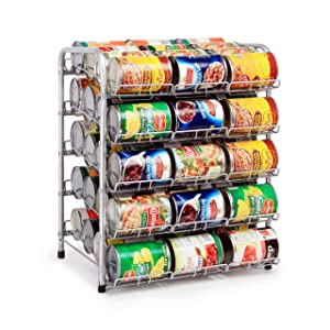 Kitchen Can Rack Stackable Silver Pantry Organizer (5-Tier)