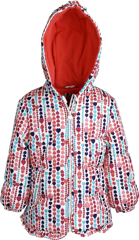 London Fog Baby Girls Faux Down Warm Puffer Jacket Coat with Fleece Lined Hood