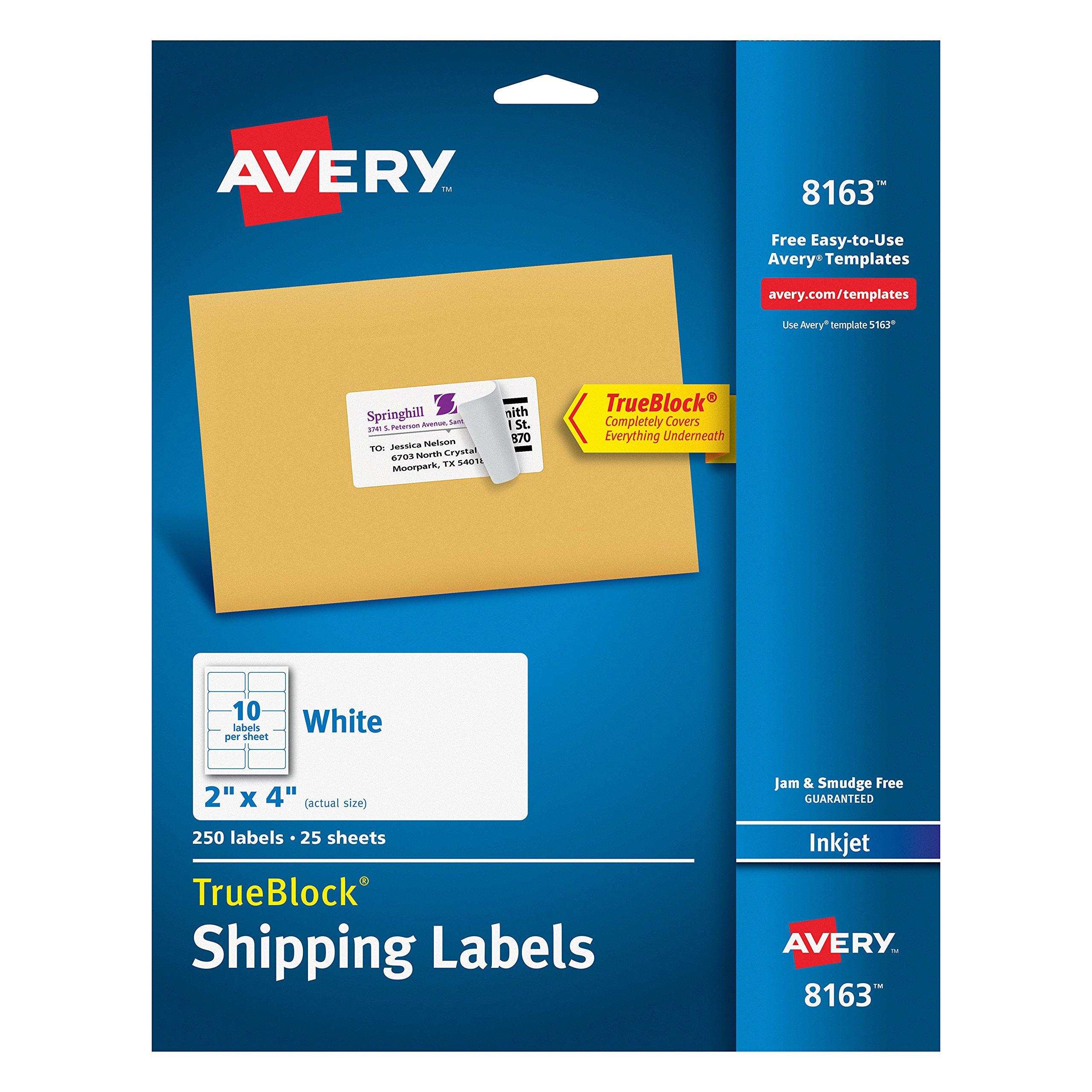 Avery Shipping Address Labels, Inkjet Printers, 250 Labels, 2x4 Labels, Permanent Adhesive, TrueBlock (8163)