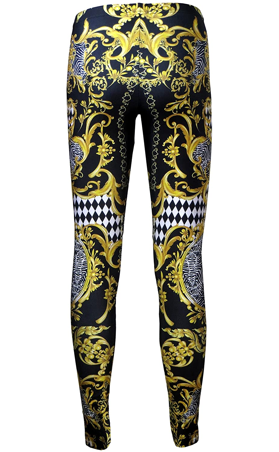 b503c15f22c5 Insanity Clothing Baroque Floral Damask Monochrome Zebra Harlequin Vintage  Block Print Leggings at Amazon Women s Clothing store