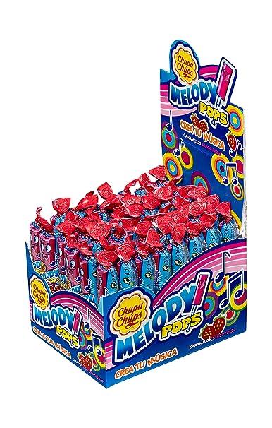 Chupa Chups Caramelo con Palo Melody Pops con Sabor a Fresa - 48 unidades de 15