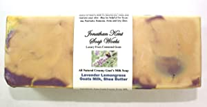 Jonathan Kent Goats Milk SOAP LOAF – LAVENDER LEMONGRASS with Creamy 100% Farm Fresh Goats Milk & Shea Butter, NO WATER. Large 3 to 3.5 Pound Loaf. With Creamy Butterfat, Moisturize & Clean your Skin.