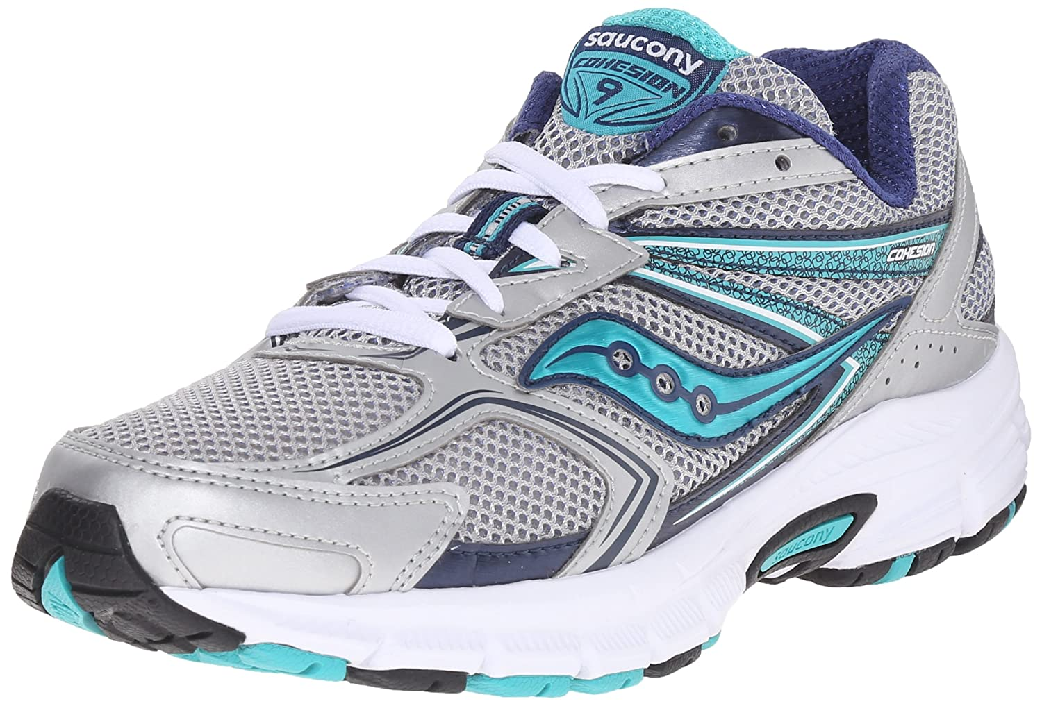Saucony Women's Cohesion 9 Running Shoe B01018URFI 8 B(M) US|Silver/Navy/Teal