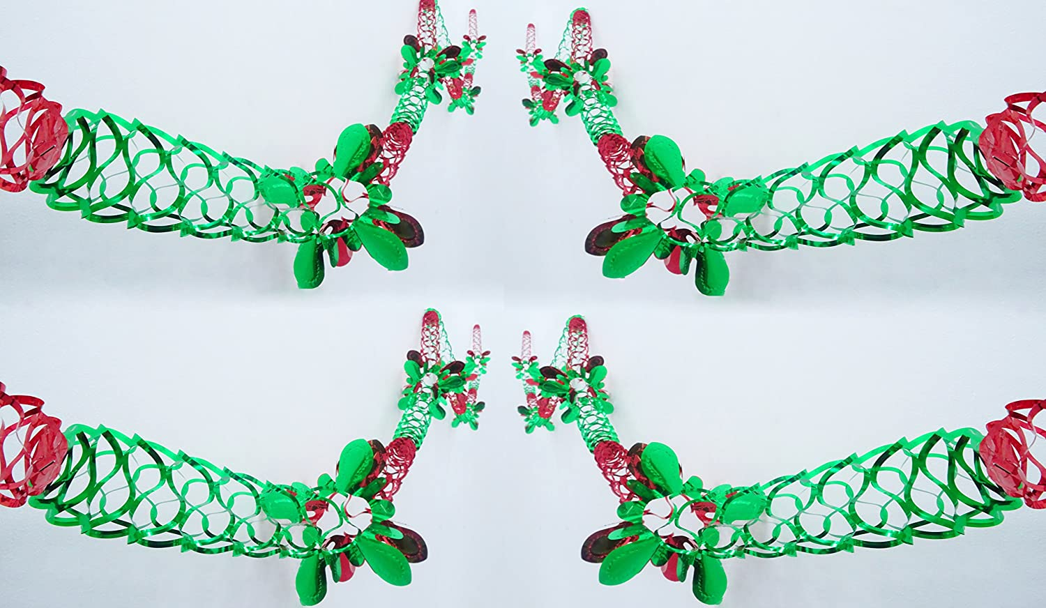 Pack of 8 Foil Designs - Red and Green Foil Garland Christmas Decoration - Square Shaped Pattern toyland®
