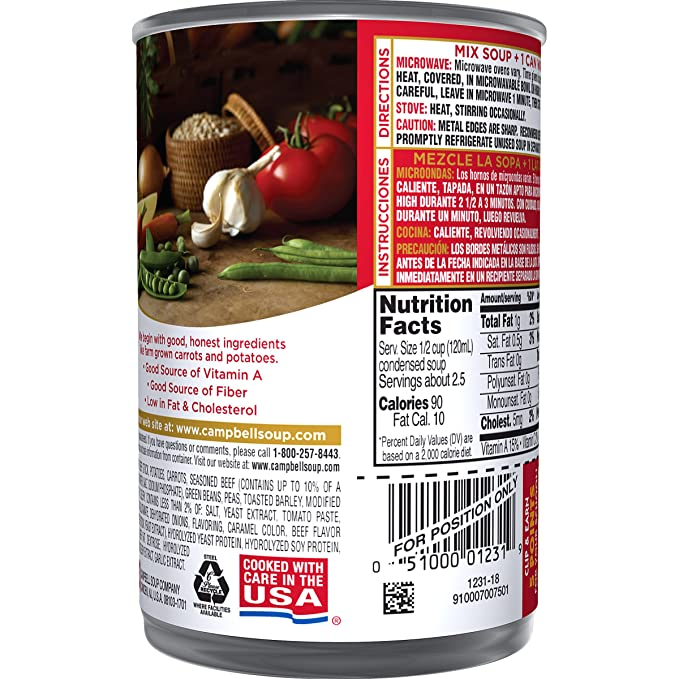 Campbells Condensed Soup, Vegetable Beef, 10.5 Ounce (Pack of 24)
