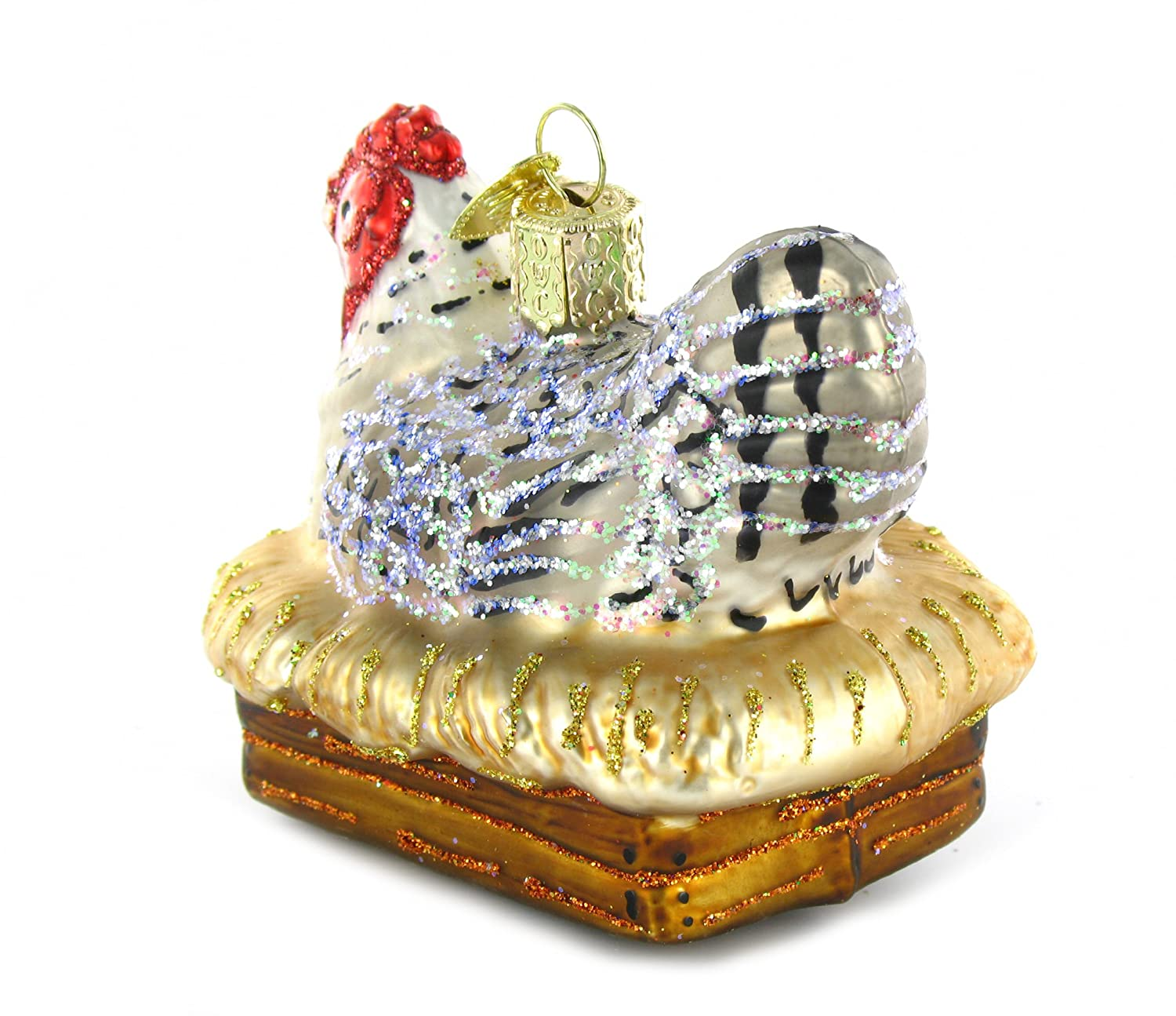Chicken christmas ornaments - Amazon Com Old World Christmas Hen On Nest Glass Blown Ornament Home Kitchen
