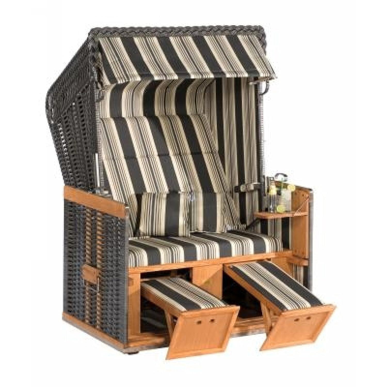Sonnenpartner Strandkorb Konsul 2 Sitzer Halbliegemodell anthrazit/beige