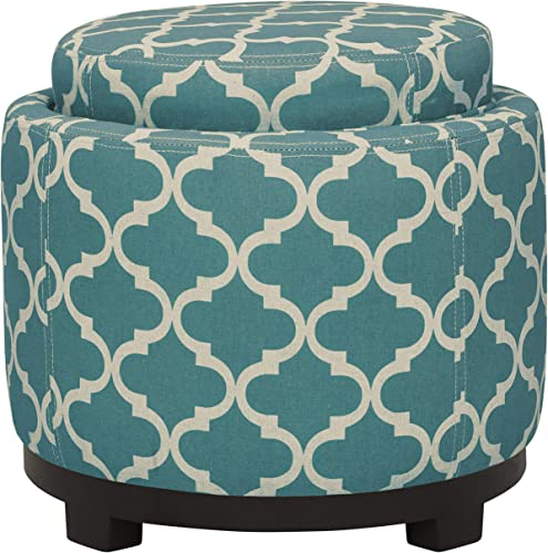 Amazon Brand Ravenna Home Morrocan Storage Ottoman with Tray – 19 Inch, Blue and Cream
