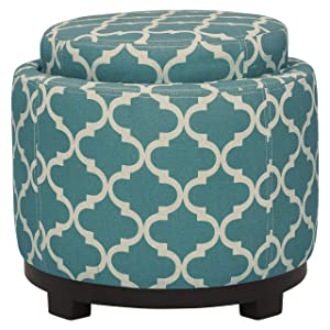 "Ravenna Home Storage Ottoman with Tray, 19""W, Blue and Cream"