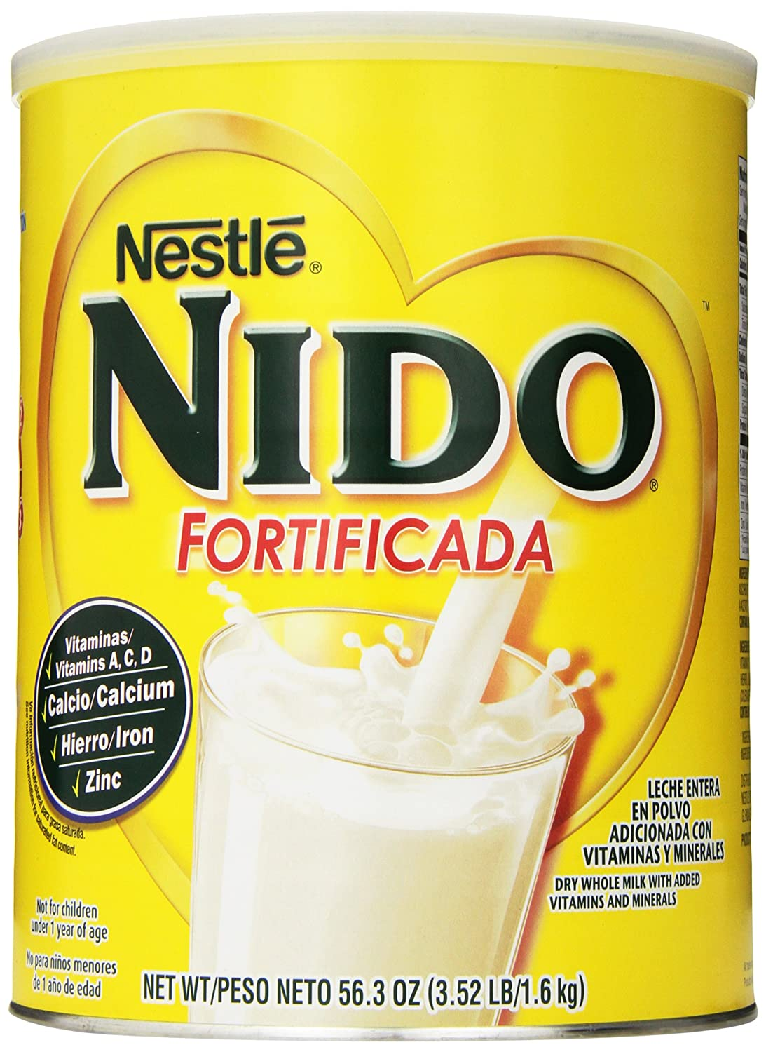 Amazon.com: Nestle NIDO Fortificada Dry Milk Canister, 3.52 Pound: Prime Pantry