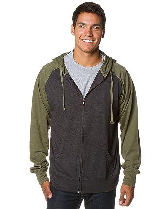 b26478fb9 Global Blank Mens Longsleeve Shirt Zip Up Hoodie with Pockets Dark Gray  Green XS