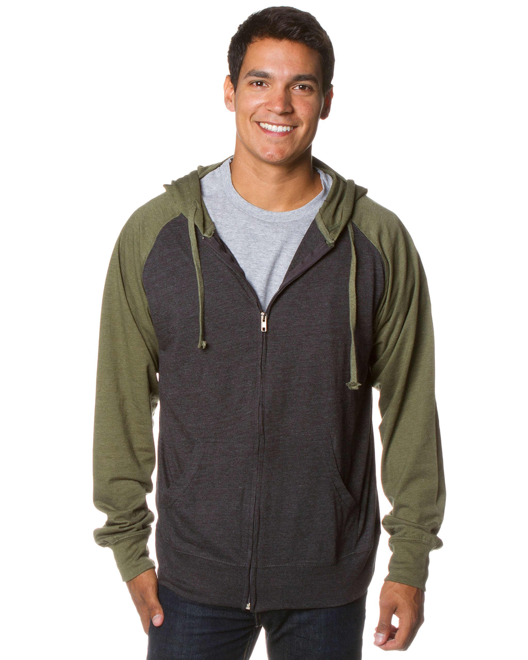 Global Blank Lightweight T-Shirt Material Raglan Zip up Hoodie with Pockets Charcoal/Army M