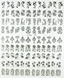 108Pcs 3D Black Flower Nail Art Stickers Decals Stamping DIY Nail Decoration Tools