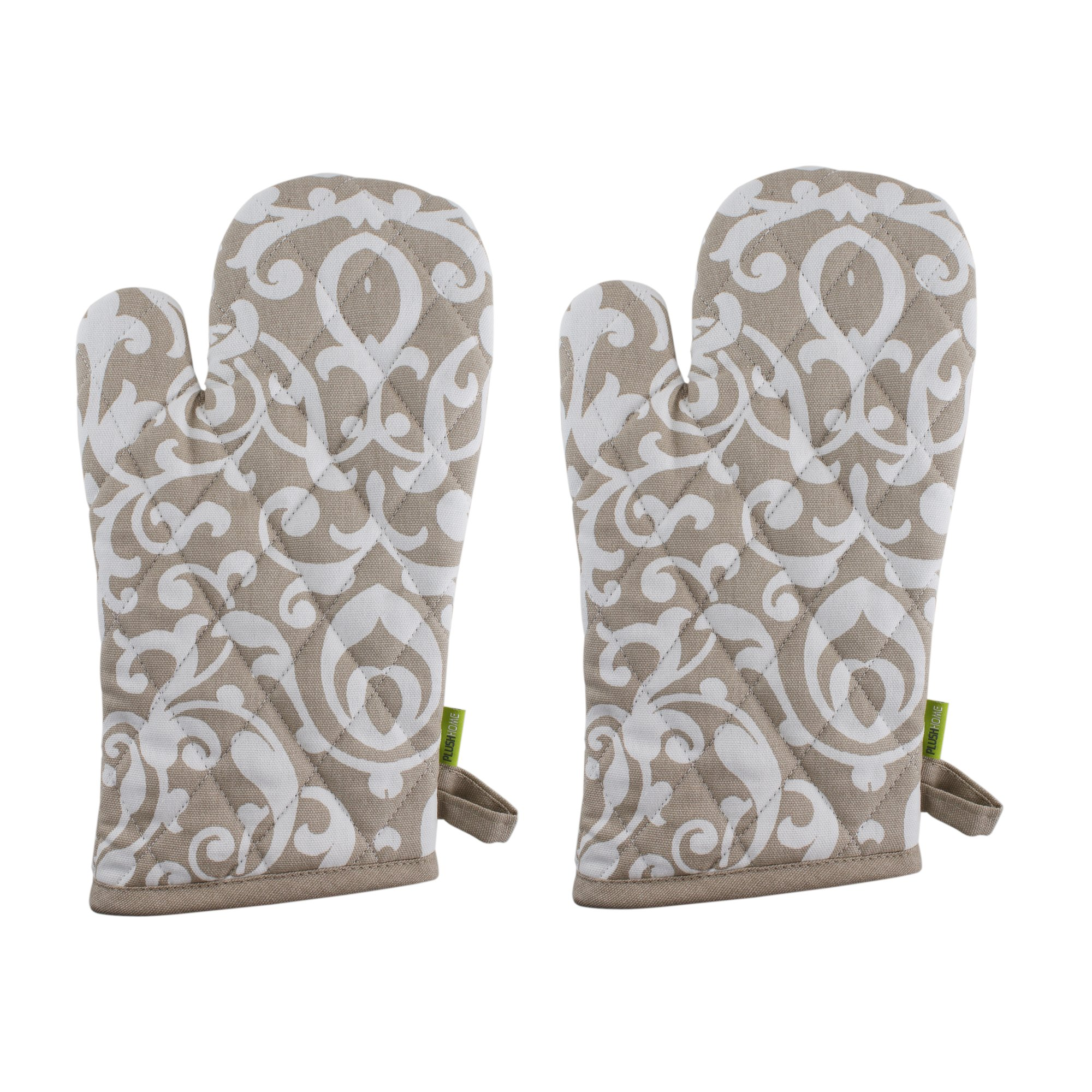 """Set of 2 Oven Mitts, 100% Cotton of Size 7""""X12 Inch, Eco-Friendly & Safe, Beige Baroque Design for Kitchen"""