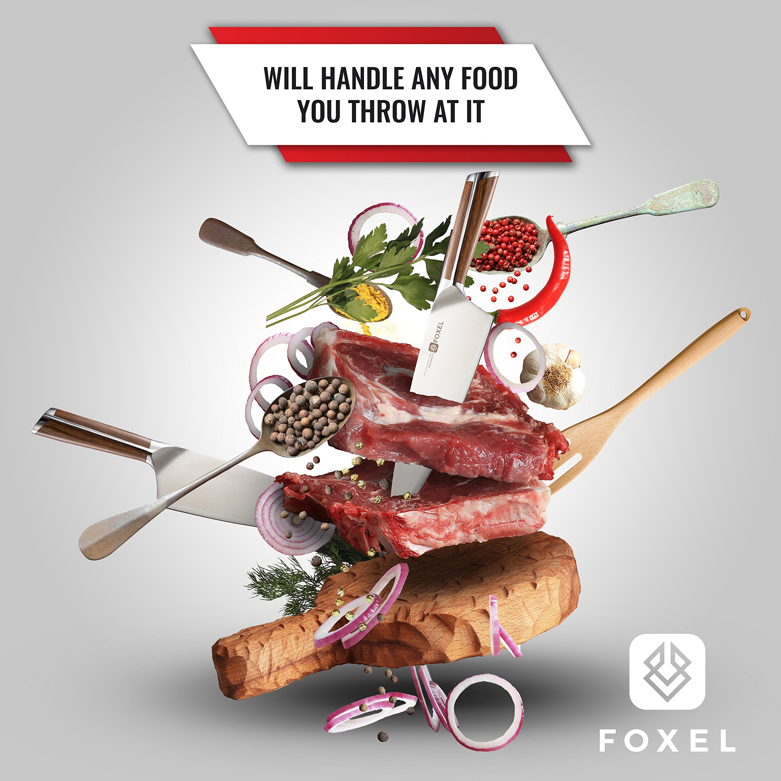 Chef Kitchen Knife 8 inch Japanese Inspired American Design - FOX Series Chef's Knives are Made for Rugged Everyday Use with Razor Sharp German High Carbon Steel and Ergonomic Sandal Wood Handle by FOXEL (Image #6)