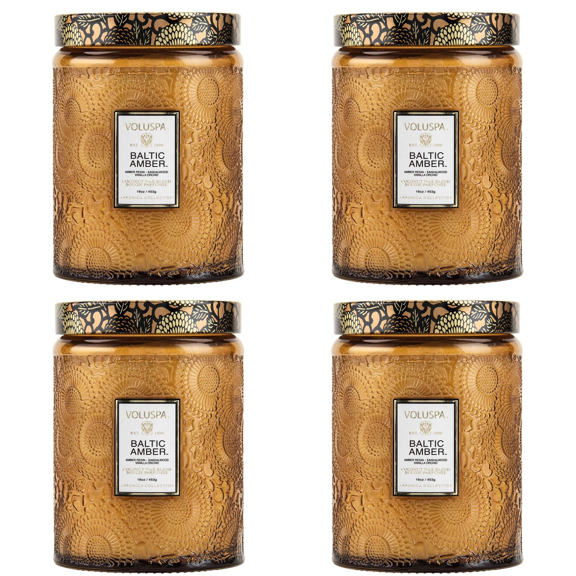 Voluspa Baltic Amber Large Embossed Glass Jar Candle ( 4 pack ) by Voluspa
