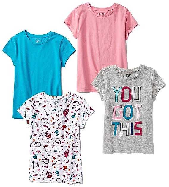 01839e8afc893 Spotted Zebra Girls' Toddler & Kids 4-Pack Short-Sleeve T-Shirts