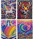 Lisa Frank 3 Ring Pocket Folders with Glitter Covers – Set of 4 – Skye Unicorn, Hunter Leopard, Puppy Love and Dancing Dolphins