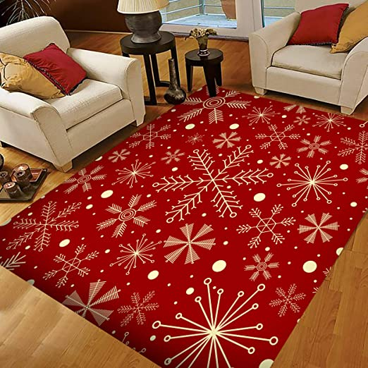 Amazon Com Christmas Area Rugs 5x4 Area Rugs For Living Room Bedroom Large Area Rugs Christmas Snowflakes On Dark Red Kitchen Dining