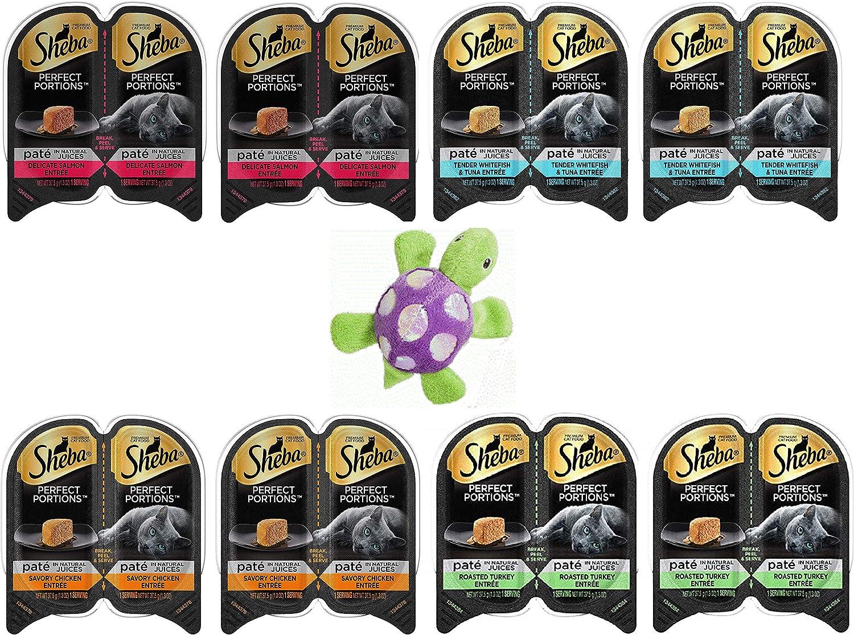 Sheba Perfect Portions Wet Cat Food Premium Paté 8 Pack (4 Flavor) Variety Bundle, Plus an Ethical Pet Glimmer Turtle Cat Toy