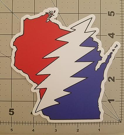Wisconsin grateful dead die cut sticker 5 x 5 25 vinyl bolt deadhead jerry