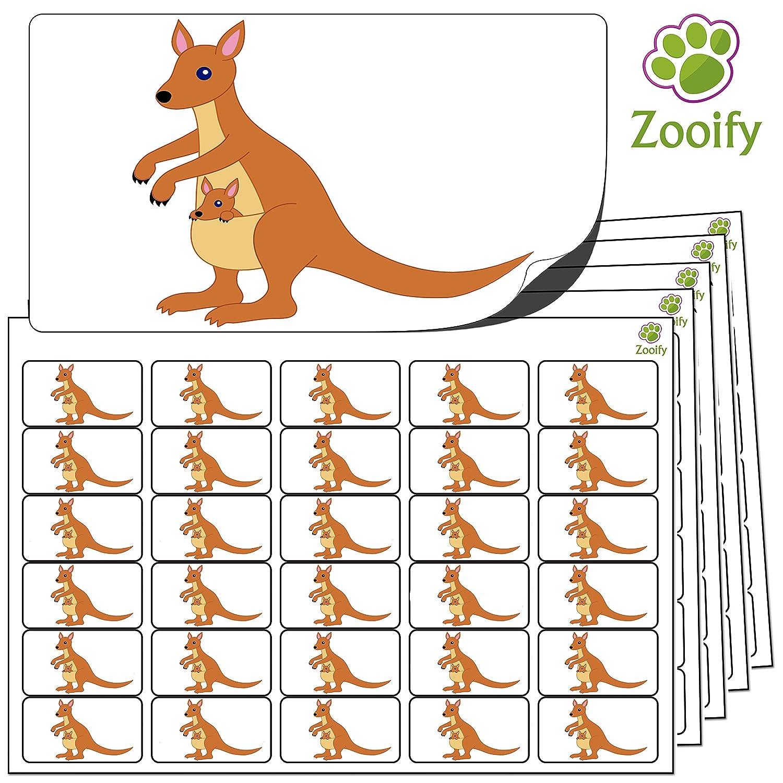 480 adesivi Etichette autoadesive con animali di alta qualit/à di Zooify. 38 x 21 mm Canguro