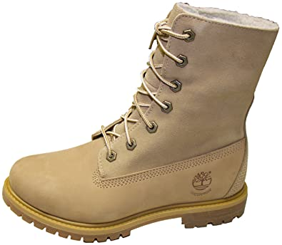 Timberland Women's Authentic Teddy Fleece Leather Boots Natural off White  (11 ...