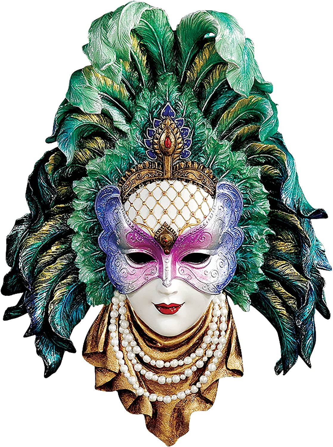 Design Toscano Maidens of Mardi Peacock Princess Gras Wall Mask Sculpture