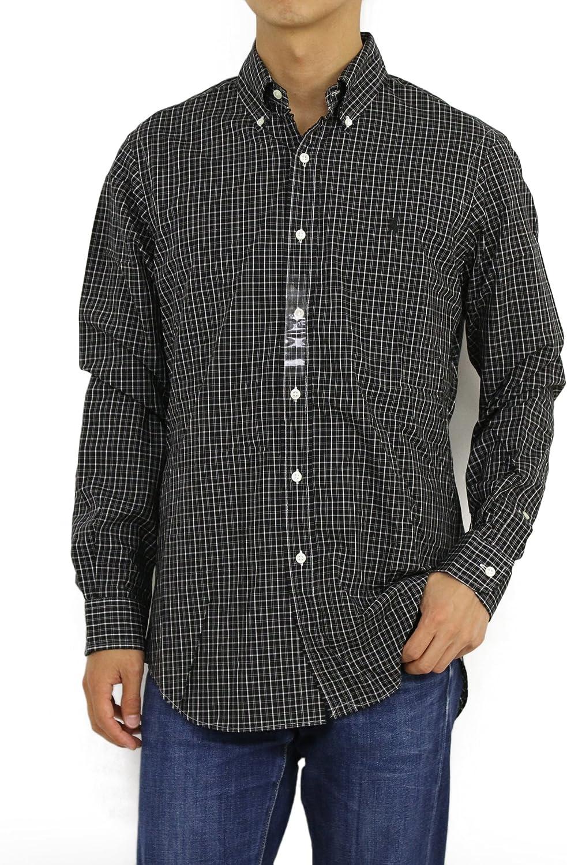 Polo Ralph Lauren Mens Classic Button Down Dress Shirt Check Black White Small