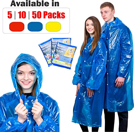Blue EMERGENCY WATERPROOF PONCHO RAIN CAPE Camping Outdoor Festival