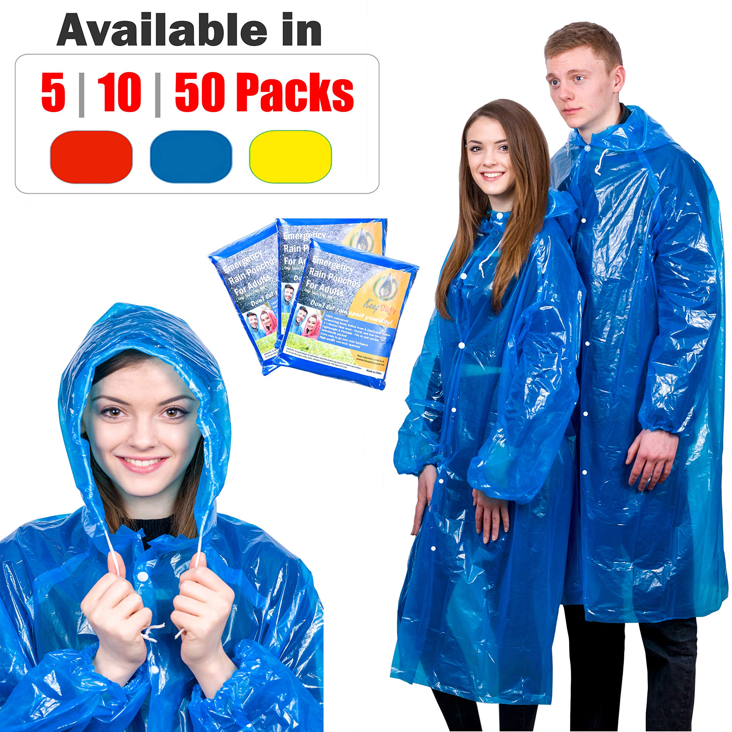 KeepDry! Extra Thick Disposable Emergency Rain Ponchos ~ Premium Quality, Lightweight, Waterproof & Tear Resistant ~ for Hiking, Tours, Sightseeing, Disney, Festivals (5 Pack, Blue) by KeepDry!