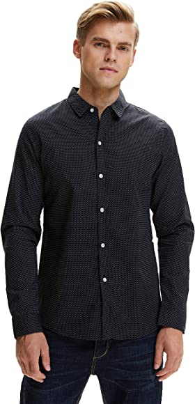 SSLR Camisa Formal Hombre Manga Larga Camisa a Lunares Entallada Ajustada Moda (Small, Negro): Amazon.es: Ropa y accesorios