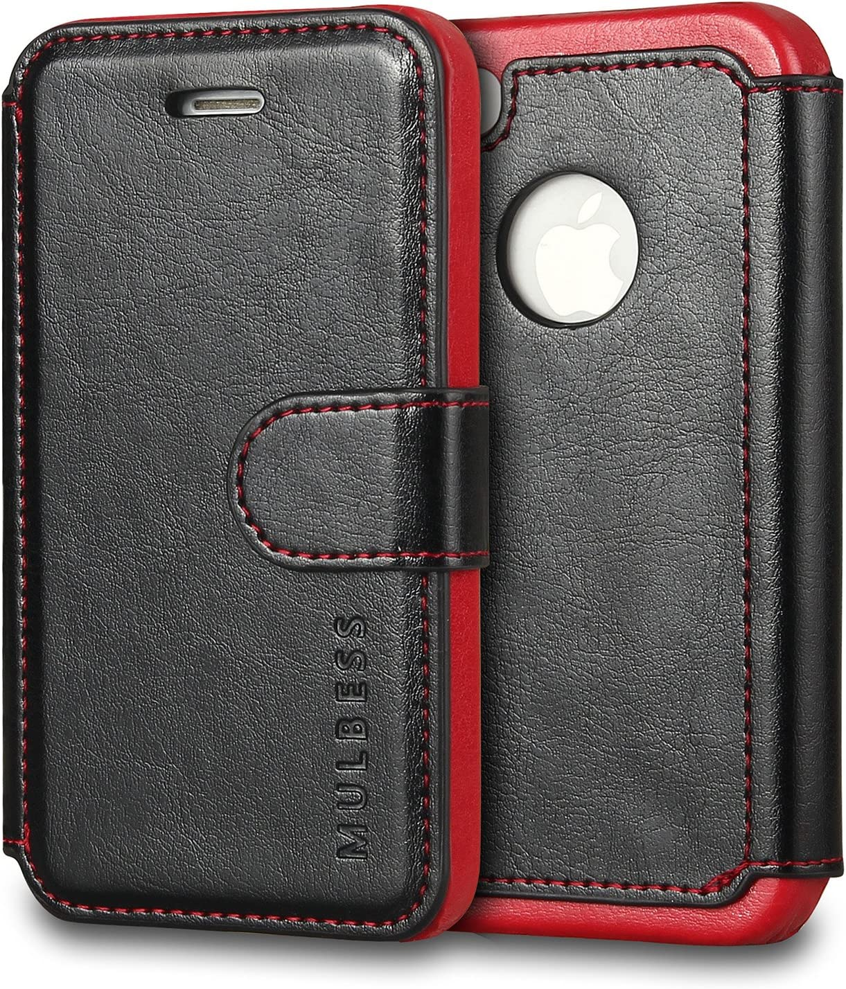Mulbess Layered iPhone 4s Leather Case,Flip Phone Case Wallet with Magnetic Clasp for iPhone 4 / 4s Cover, Black